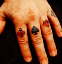 card suits knuckle tattoo